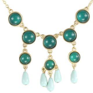 Goldtone Green Bead Drop Bib Necklace