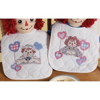 Raggedy Ann Heart To Heart Bib Pair Stamped Cross Stitch Kit 7X6 1/2