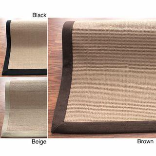 Handmade Alexa Eco Natural Fiber Cotton Border Jute Rug (6 x 9