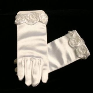 Bonnie Jean Girls 7 16 WHITE SATIN BONAZ ROSETTE GLOVES