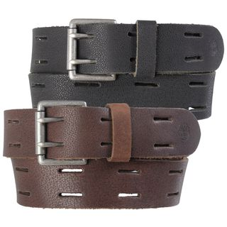 Timberland Mens Distressed Cutout Genuine Leather Belt