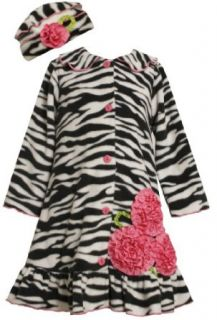 Bonnie Jean Girls 2 6X Zebra Print Winter Fleece Coat Set