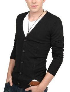 Doublju Mens Casual V neck Button Cardigan Sweater