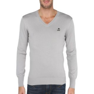 Coloris  gris perle. Pull DIESEL Homme, 100 % coton, col V, manches