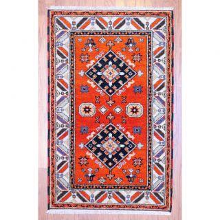 Indo Hand knotted Kazak Orange/ Ivory Wool Rug (3 x 5)