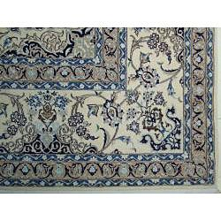 Persian Hand knotted Fine Nain Ivory Wool/ Silk Rug (105 x 135