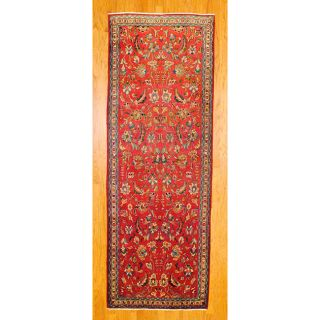 Persian Hand knotted Red/ Ivory Tribal Hamadan Wool Rug (39 x 105