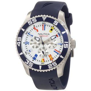 Nautica Mens N12627G Blue Resin Strap White Dial Quartz Watch