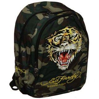 Ed Hardy Green Camo Tiger Misha 16 inch Backpack