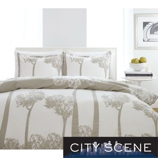 City Scene Tree Top Full/ Queen size 3 piece Duvet Cover Set