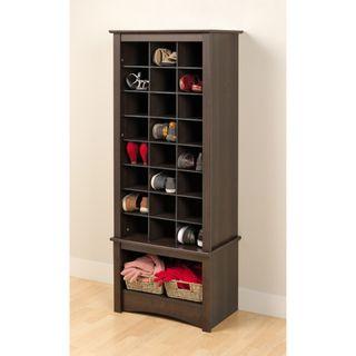 Armario alto con compartimentos para zapatos, Espresso