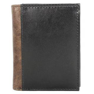 YL Fashion Mens Black Leather Bi fold Wallet