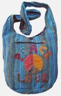 Peace Love Sling Purse Handbag in Blue Clothing