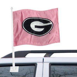 NCAA Georgia Bulldogs Pink Mascot Car Flag: Sports