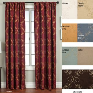 Renzo Chain Stitch Faux Silk 108 inch Curtain Panel