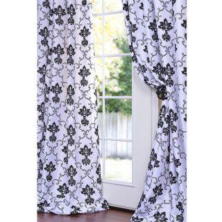 Fiori White And Black Faux Silk 108 inch Curtain Panel