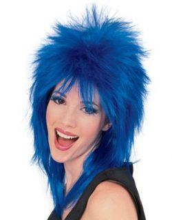 Mens Womens Blue Punk 80s Rock Super Star Costume Wig