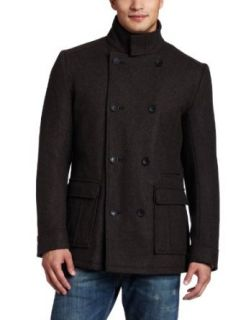 Ben Sherman Mens Herringbone Coat,Dark Chocolate,Small