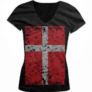 Big Denmark Flag Juniors V Neck T shirt, Faded Oversized