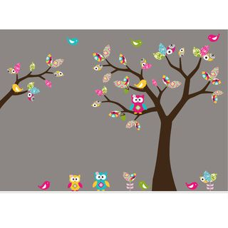 Nursery Wall Art Girls Leaf Tree Decal Set with Birds, Owls and