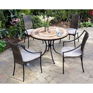 Valencia Terra Cotta Tile Table and Laguna Arm Chairs 5 piece Dining