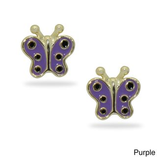 18k Gold Overlay Childrens Colored Enamel Butterfly Stud Earrings