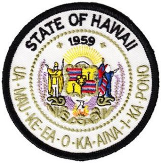 Hawaii   3 Round State Seal Patch Clothing
