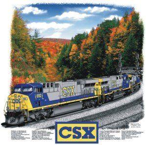 CSX AC6000 Railroad Train T Shirt Tee Shirt Clothing