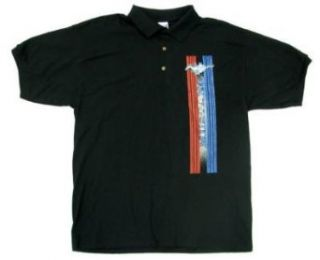 Ford Mustang Stripes Polo Shirt Black Clothing