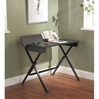 Black Computer Desk with Back Shelf