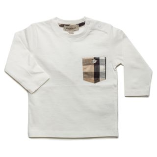 Burberry Boys Off white Check Pocket Long Sleeve T shirt