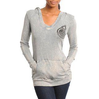 Stanzino Womens Gray Peace Emblem Hooded Sweater