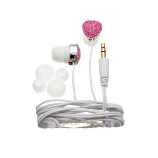 Nemo Digital Pink/ White Crystal Pave Heart Earbud Headphones