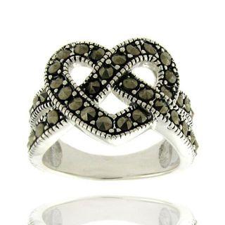 Sterling Silver Marcasite Heart Pretzel Design Ring