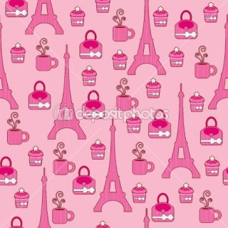 Pink bright wallpaper. Paris  Vector Stock © Natalie art #7759767