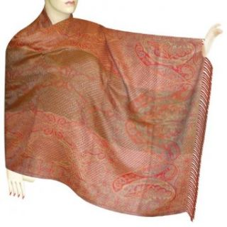 Jamawar Mix Silk Wool Scarf In Paisley Design Gift For Mom