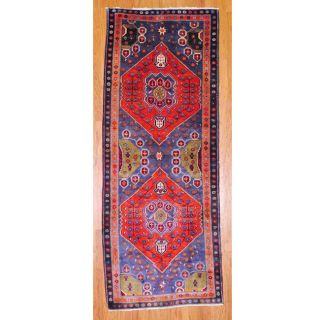 Persian Hand knotted Blue/ Rust Hamadan Wool Rug (42 x 108