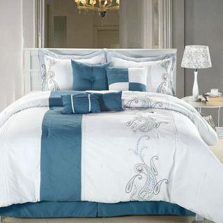 Ann Harbor 8 piece Blue/white Comforter Set