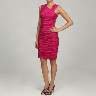 Calvin Klein Womens Asymmetrical Neckline Ruched Dress