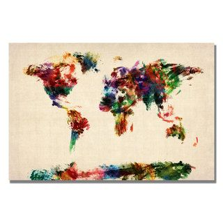 Michael Tompsett Abstract Painting World Map Canvas Art