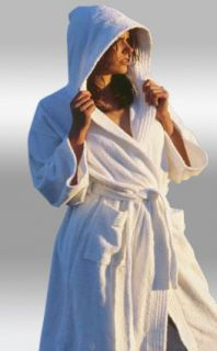 Terry Hooded Bathrobe. 100% Cotton, Full Length 52 inches Clothing