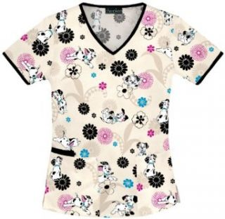 Cherokee 101 Dalmatians V Neck Scrub Top Go Dog Go (3XL