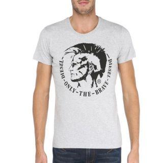 Coloris  gris chiné. T shirt DIESEL Homme, 100 % coton, col rond