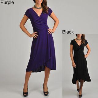 Tiana B Womens Faux Wrap High low Hem Dress