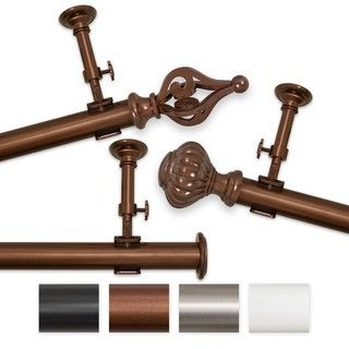 Elegant Touch 144 to 240 inch Adjustable Curtain Rod Set