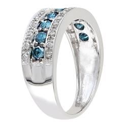 Miadora   Anillo de oro blanco 14k, con diamantes azules y blancos de
