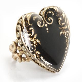 Sweet Romance Crystal and Black Enamel Heart Vintage Ring