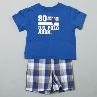 US Polo Toddler Boys Tee and Plaid Shorts Set