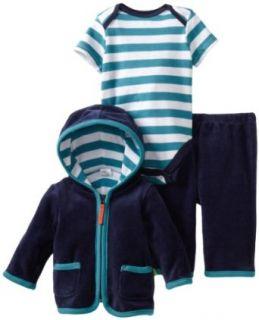 Offspring  Baby Boys Newborn Peacoat 3 Piece Velour Jacket