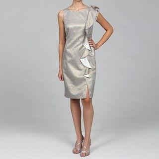 Tahari Womens Grey Side Ruffle Dress